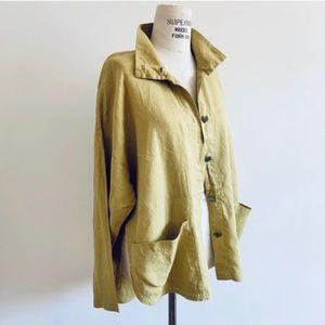 Vintage Linen Minimalist Chore Coat Style Blazer